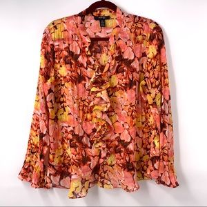 Style & Co. Floral Ruffle Detail Semi Sheer Blouse